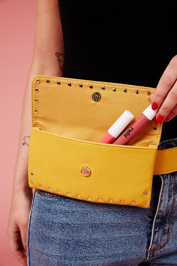 Simple Belt Bag, MUSTARD STUDDED