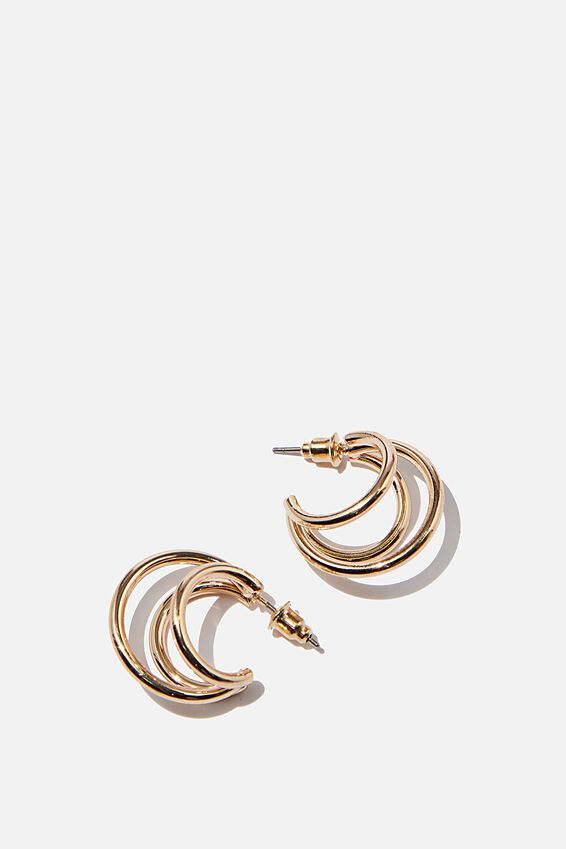 Luxe Layers Medium Triple Stack Hoop, SHINY GOLD