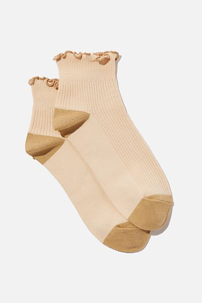 Frill Ribbed Ankle Sock, SOFT APRICOT