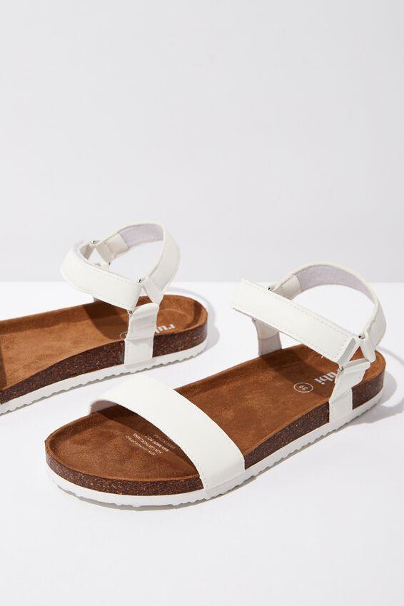 Rex Velcro Sandal, WHITE PU