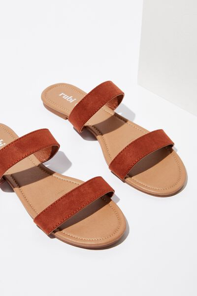 Everyday Double Thin Strap Slide, DEEP RUST MICRO