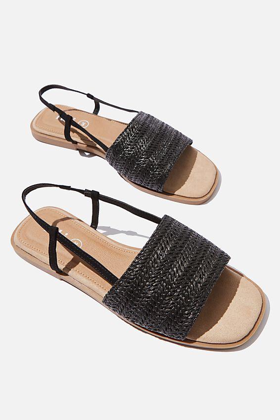 Piper Sling Back Sandal, BLACK RAFFIA