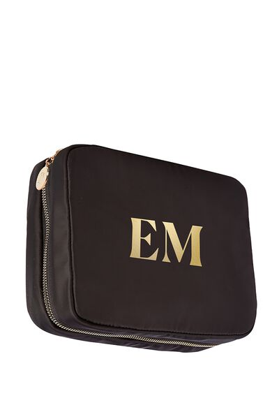 Personalised Single Storey Cosmetic Case, BLACK/GOLD