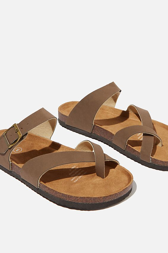 Rex Soft Toe Loop Slide, BROWN NUBUCK