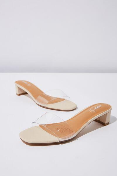Dakota Low Mule Heel, CLEAR/STONE