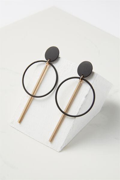 Coloured Double Hoop Statement Earring, BLACK