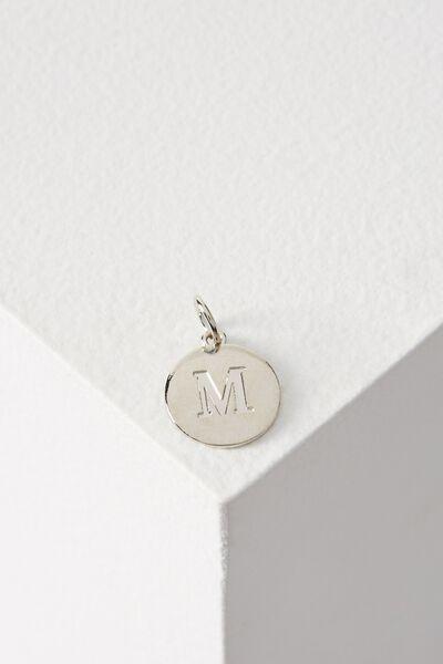 Letter Flat Pendant Charm, SILVER - M