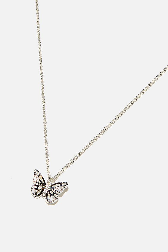 Brighter Days Pendant Necklace, FILLIGREE BUTTERFLY SILVER