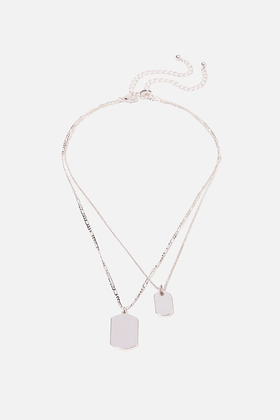 Keepsake 2 Pack Necklace Set, DOUBLE TAG SILVER