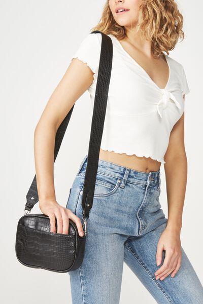 Luxe Cross  Body Bag, FAUX BLACK CROC