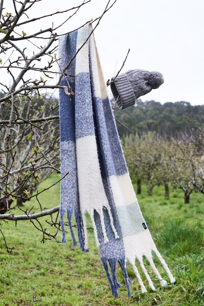 Poppy Brushed Tassel Scarf, GRISAILLE CHECK