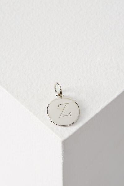 Letter Flat Pendant Charm, SILVER - Z