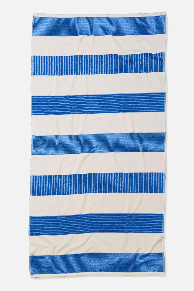 Bondi Rectangle Towel, CORNFLOWER BLUE HORIZONTAL STRIPE