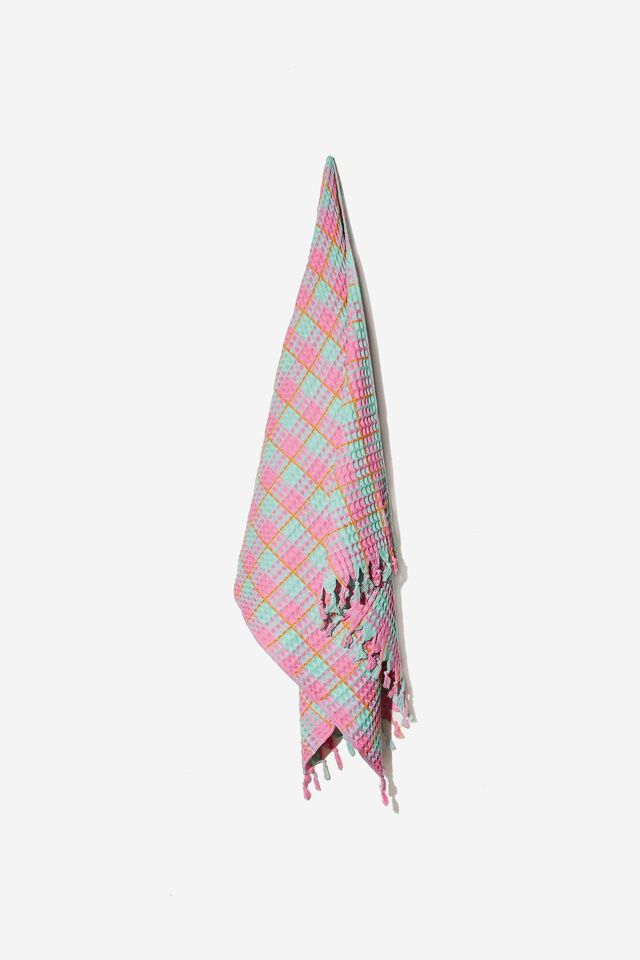 Whitehaven Lightweight Towel, MINT CHIP MADDIE WAFFLE GINGHAM