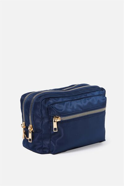Budapest Large Cosmetic Case, NAVY WITH GOLD