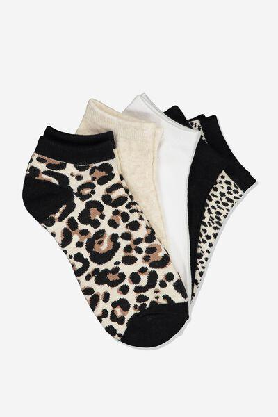 5Pk Ankle Sock, BROWNS LEOPARD