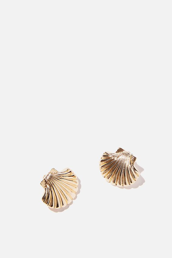 Holiday Statement Earring, GOLD CLAM STUD