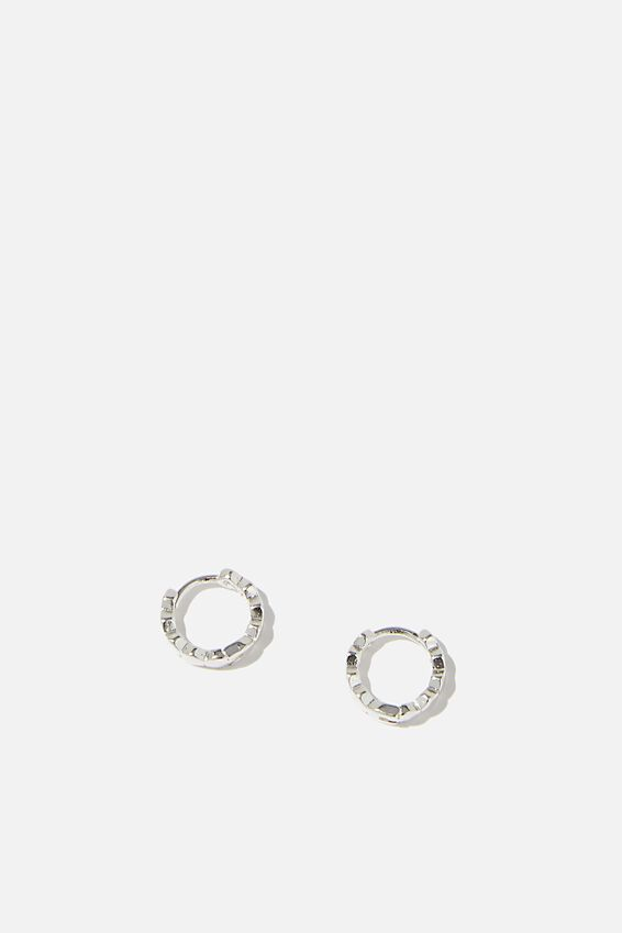 Ear Party Plain Huggie Hoops, SILVER HEXAGONAL