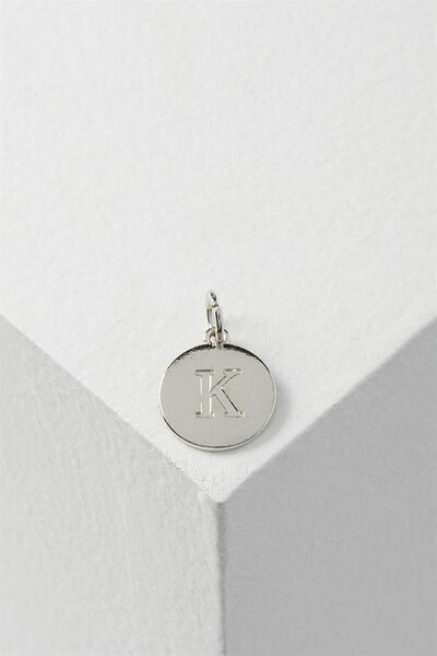Letter Flat Pendant Charm, SILVER - K