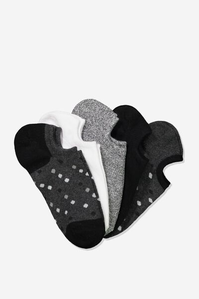 5Pk Sports Low Cut Sock, BLACK SPOT