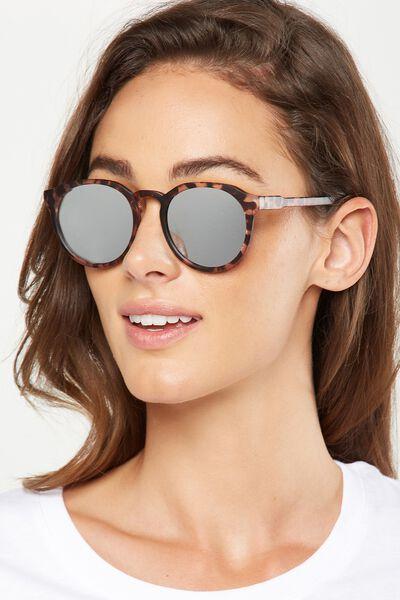 Emerson Preppy Sunglasses, M.CRY CORAL/SILVER