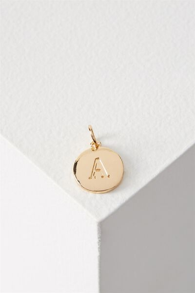 Letter Flat Pendant Charm, GOLD - A