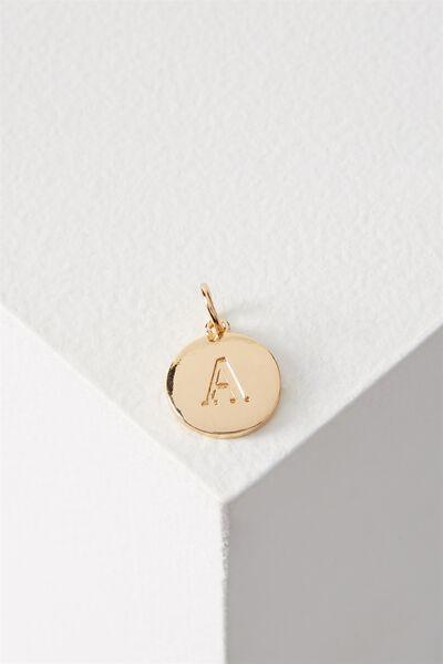 Letter Flat Pendant Charm, GOLD - A