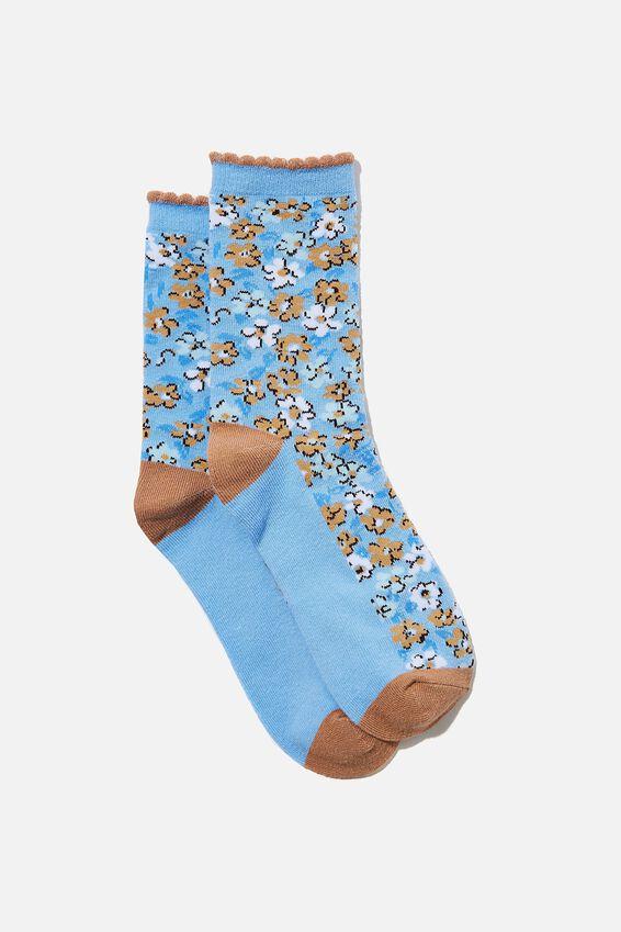 Carrie Crew Sock, DUSK BLUE KENDELL DITSY FLORAL
