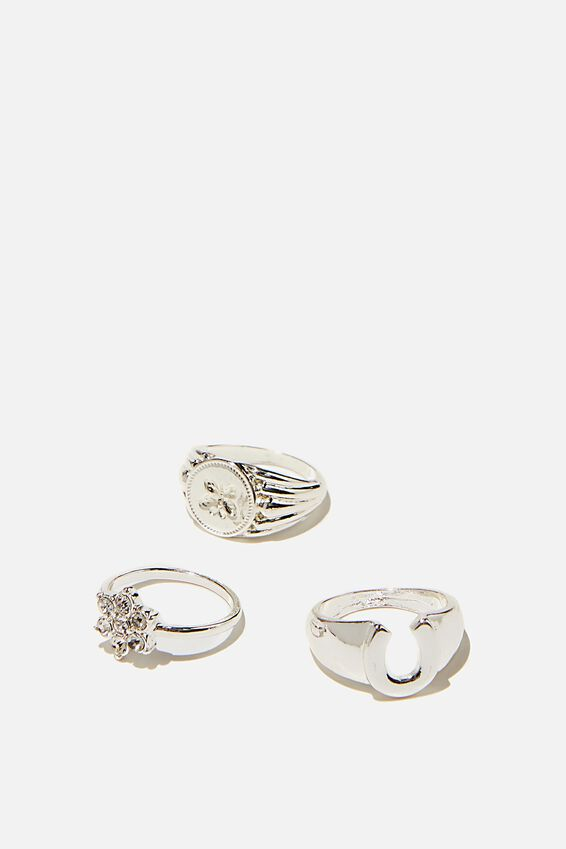 Brighter Days Ring Set, BUTTERFLY DAISY SILVER