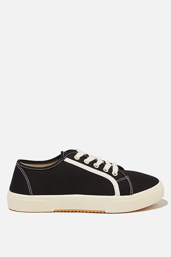 Lisa Lace Up Plimsoll, BLACK ECRU CONTRAST STRIPE