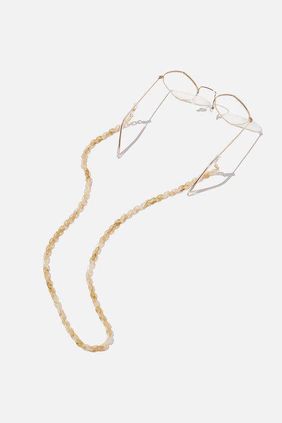 Bella Glasses Chain, ECRU TORT & CHAIN