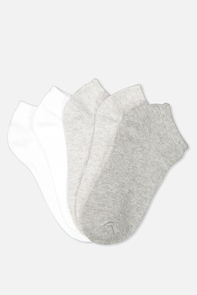 5Pk Ankle Sock, GREY MIX