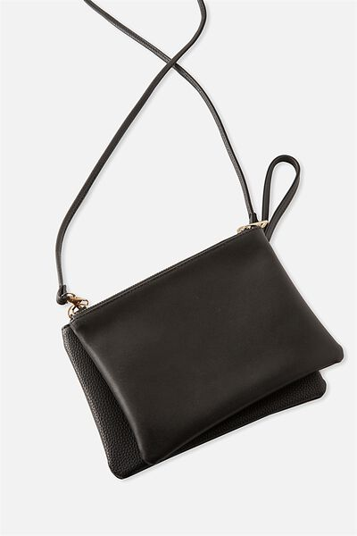 Dakota Double Pouch Cross Bag, BLACK/BLACK