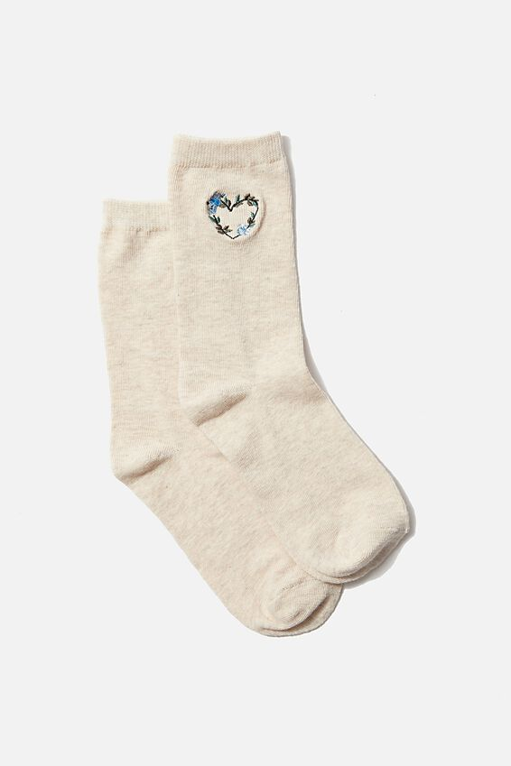 Carrie Crew Sock, OAT FLOWER HEART
