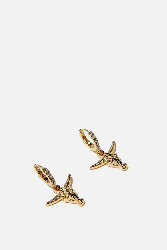 Ear Party Luxe Huggie Hoops, BULL HEAD GOLD