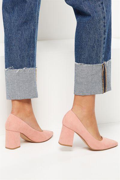 Limbo Pointed Block Heel, PEACH BEIGE