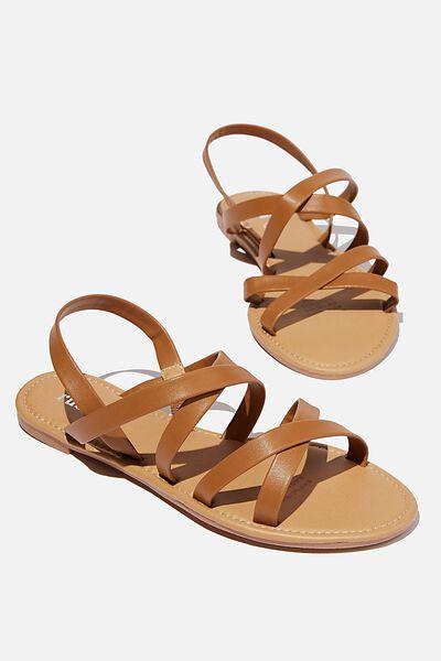 Lucy Strappy Slingback Sandal, TAN PU