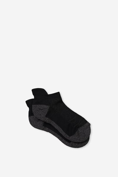High Impact Ankle Sock, BLACK/CHARCOAL