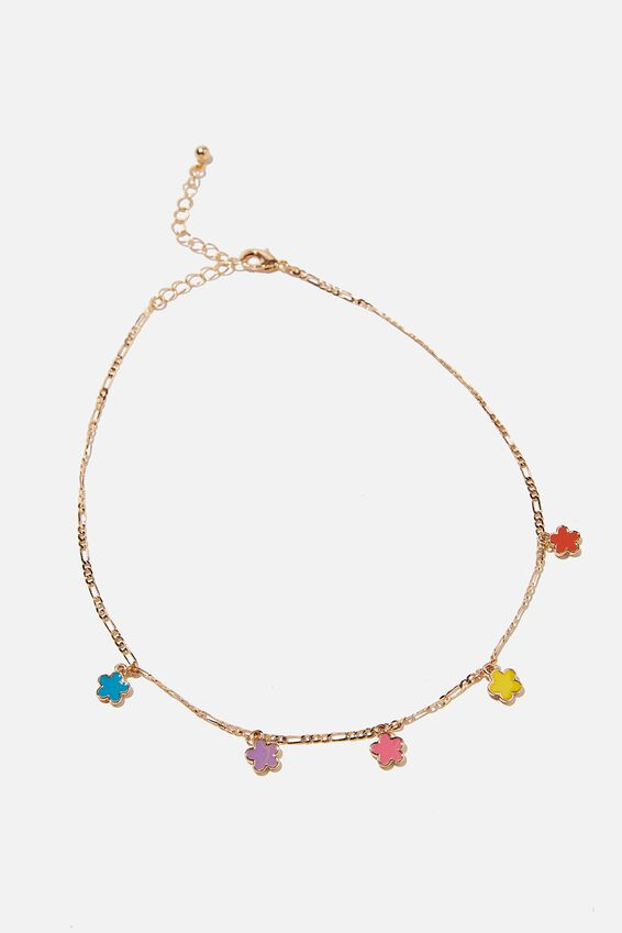 Treasures Single Chain Necklace, ENAMEL FLOWER