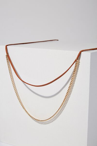 Morocco Necklace, GOLD/TAN