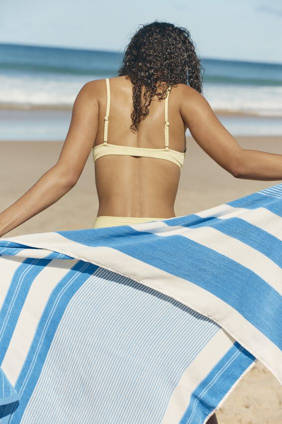 Bondi Rectangle Towel, BLUE POOLSIDE STRIPE