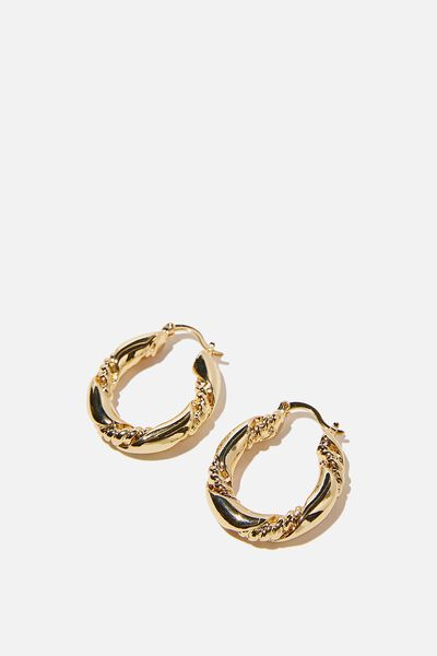 Premium Mid Hoop, GOLD PLATED TEXTURE