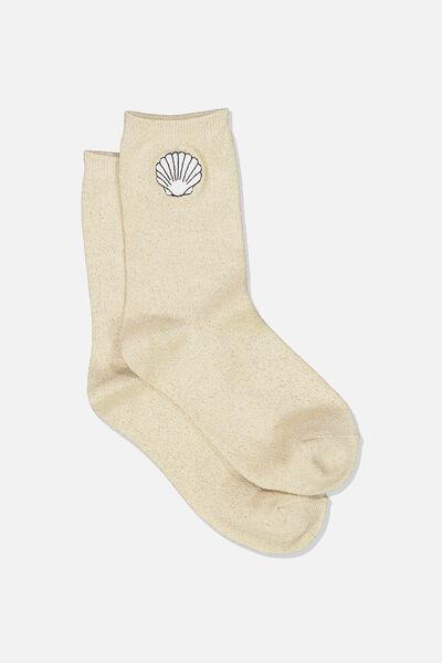 Embroidered Crew Sock, GOLD SPARKLE/SHELL
