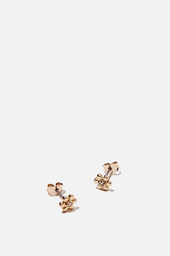Premium Stud Earrings, GOLD PLATED DAISY