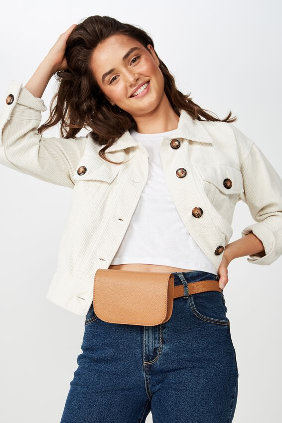 Aimee Rectangle Belt Bag, TAN PEBBLE