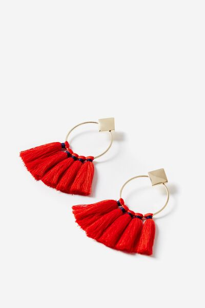 Round Tassel Earring, CORAL