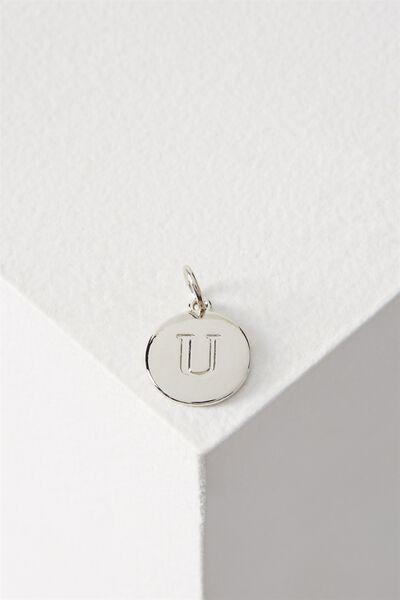 Letter Flat Pendant Charm, SILVER - U