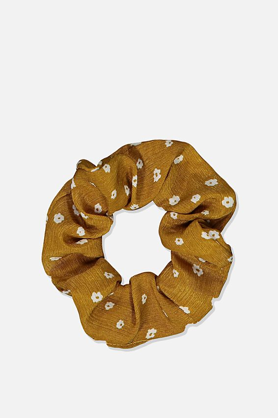 So Me Scrunchie, MUSTARD SILHOUETTE FLORAL