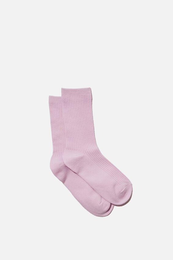 Everyday Rib Sock, LILAC