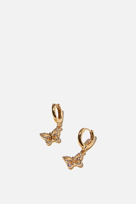 Ear Party Luxe Huggie Hoops, CRYSTAL BUTTERFLY GOLD
